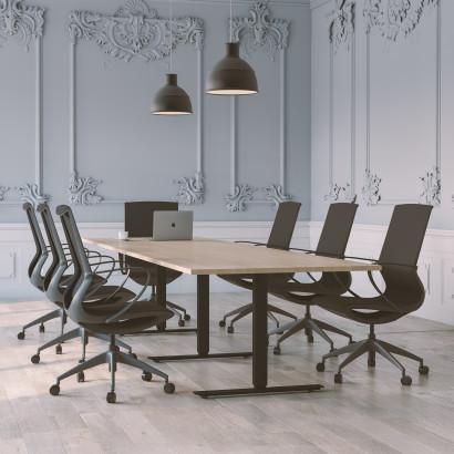 Höhenverstellbarer Schreibtisch, schwarzes Gestell und eine schwarze Tischplatte - Premium