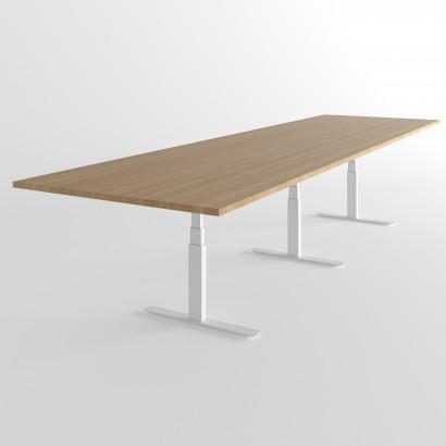 Höhenverstellbarer Schreibtisch, schwarzes Gestell und eine dunkelgraue Tischplatte - Premium