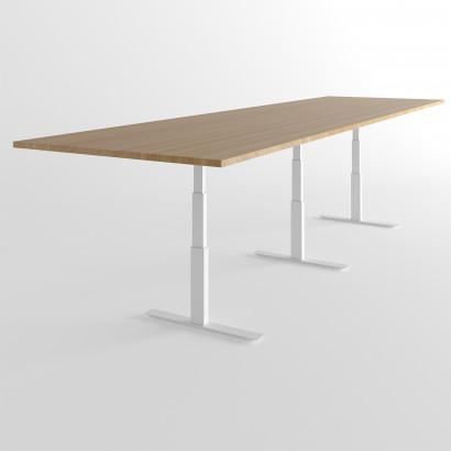 Höhenverstellbarer Schreibtisch,schwarzes Gestell und eine Tischplatte in Eiche- Premium