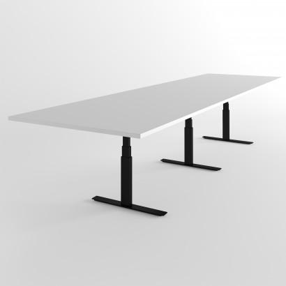 Höhenverstellbarer Schreibtisch, schwarzes Gestell und eine Tischplatte in Birke - Premium