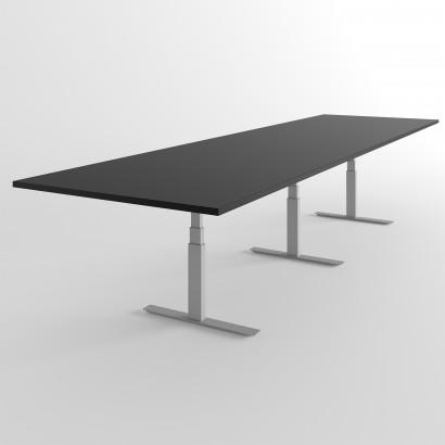 Höhenverstellbarer Schreibtisch, schwarzes Gestell und eine Tischplatte in Walnuss - Premium