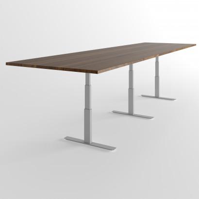 Höhenverstellbarer Schreibtisch, silbernes Gestell und eine weiße Tischplatte- Premium