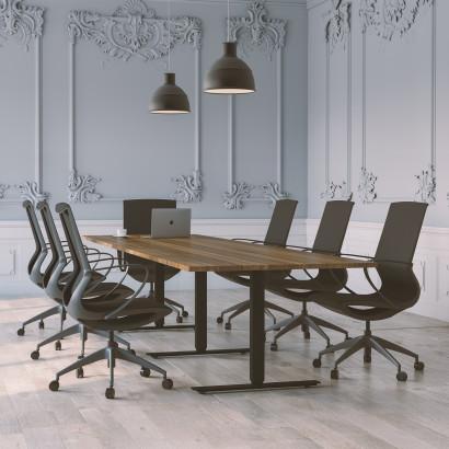 Höhenverstellbarer Schreibtisch, silbernes Gestell und eine Tischplatte in Eiche - Premium