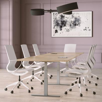 Höhenverstellbarer Schreibtisch in Eckform, weißes Gestell und eine weiße Tischplatte - Premium
