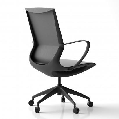 Höhenverstellbarer Schreibtisch in Eckform, weißes Gestell und eine schwarze Tischplatte- Premium