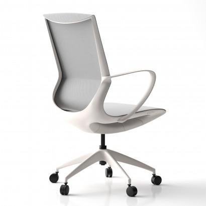 Höhenverstellbarer Schreibtisch in Eckform, weißes Gestell und eine dunkelgraue Tischplatte- Premium