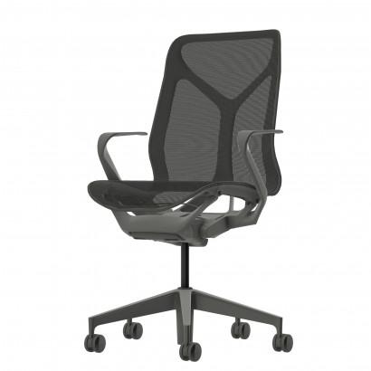 Höhenverstellbarer Schreibtisch in Eckform, schwarzes Gestell und eine schwarze Tischplatte - Premium