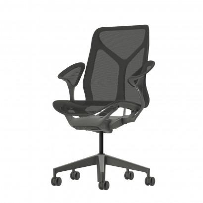 Höhenverstellbarer Schreibtisch in Eckform, silbernes Gestell und eine weiße Tischplatte - Premium