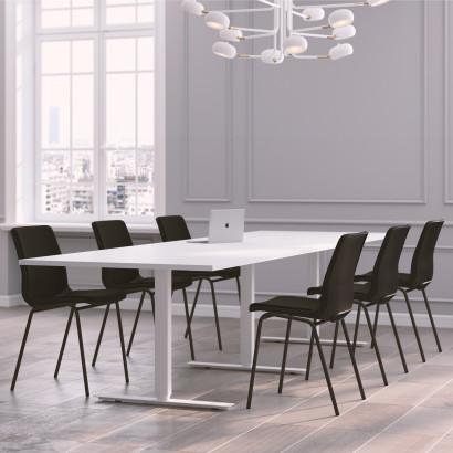 Höhenverstellbarer Schreibtisch in Eckform, silbernes Gestell und eine schwarze Tischplatte- Premium