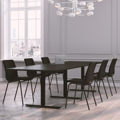 Höhenverstellbarer Schreibtisch in Eckform, silbernes Gestell und eine dunkelgraue Tischplatte - Premium