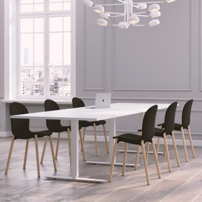 Höhenverstellbarer Eckschreibtisch, 3-Beine, weißes Gestell und eine weiße Tischplatte- Premium
