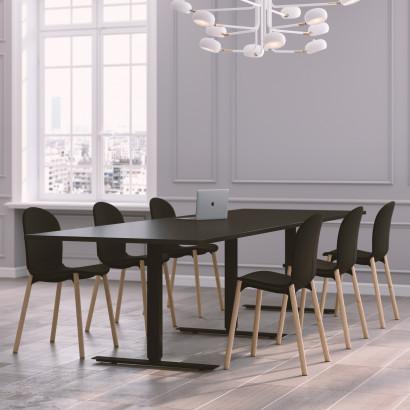 Höhenverstellbarer Eckschrebtisch, weißes Gestell und eine schwarze Tischplatte - Premium