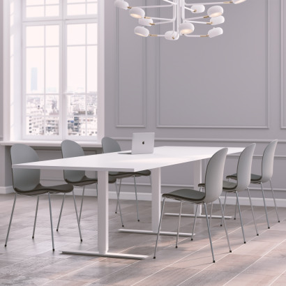 Höhenverstellbarer Eckschreibtisch, weißes Gestell und dunkelgraue Schreibtischplatte - Premium