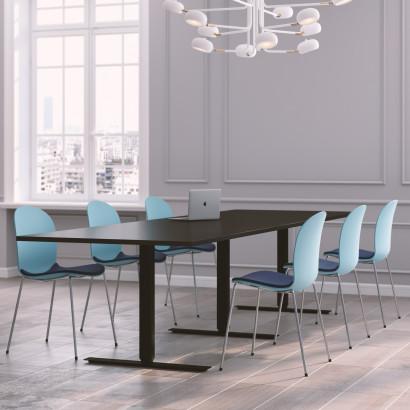 Höhenverstellbarer Eckschreibtisch, weißes Gestell und eine Tischplatte in Eiche - Premium
