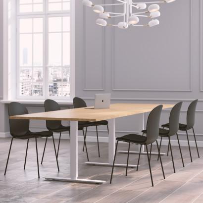 Höhenverstellbarer Eckschreibtisch, weißes Gestell und eine Tischplatte in Birke- Premium