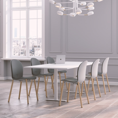 Höhenverstellbarer Eckschreibtisch, weißes Gestell und eine Tischplatte in Walnuss - Premium