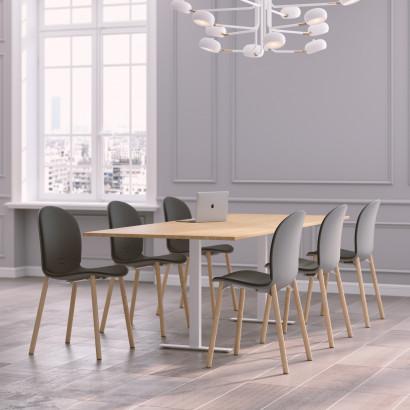 Höhenverstellbarer Eckschreibtisch, 3-Beine, schwarzes Gestell und eine weiße Tischplatte- Premium