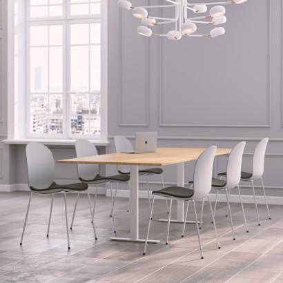 Höhenverstellbarer Eckschreibtisch, schwarzes Gestell und eine Tischplatte in Eiche - Premium