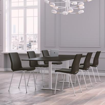 Höhenverstellbarer Eckschreibtisch, schwarzes Gestell und eine Tischplatte in Birke- Premium