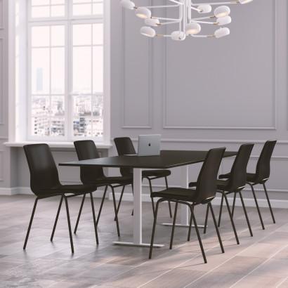 Höhenverstellbarer Eckschreibtisch, silbernes Gestell und eine schwarze Tischplatte - Premium