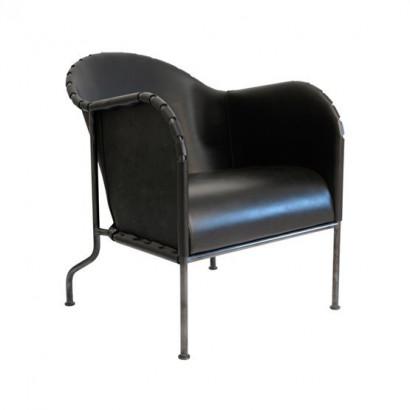 Bruno fåtölj - svart, svartoxiderat stålstativ