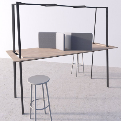 Gather mötesbord svart stativ och ek bordsskiva