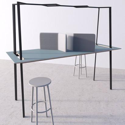 Gather mötesbord svart stativ och NCS 5502-G bordsskiva