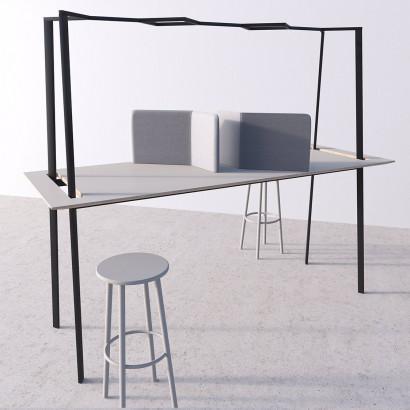 Gather mötesbord svart stativ och ljusgrå bordsskiva