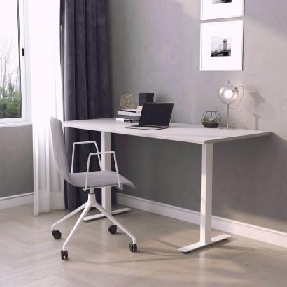 Skrivbord, vitt stativ och ljusgrå skiva