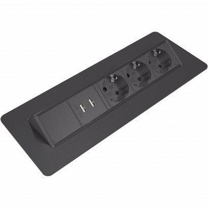 Axessline QuickBox - 3 El 2 USB Laddare, Svart